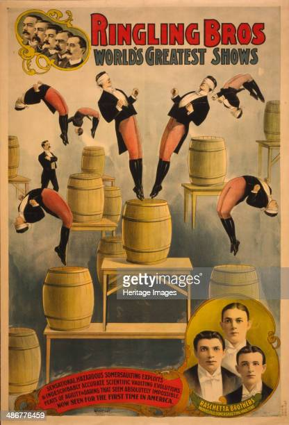 Ringling Bros world's greatest shows Raschetta brothers marvelous somersaulting vaulters c 1900 Artist Courier Company Lith