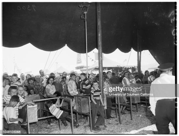 Ringling Brothers Barnum and Bailey Circus, 10 September 1951. Buzzy Potts, clown;Billy Pauli, clown;Beverly Bauvain, 10;Bethene Bauvain, 8;Blanche...