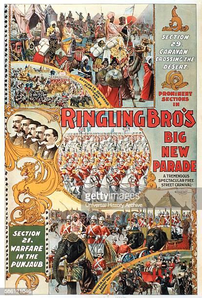 Ringling Brothers Big New Parade Spectacle Circus Poster circa 1899