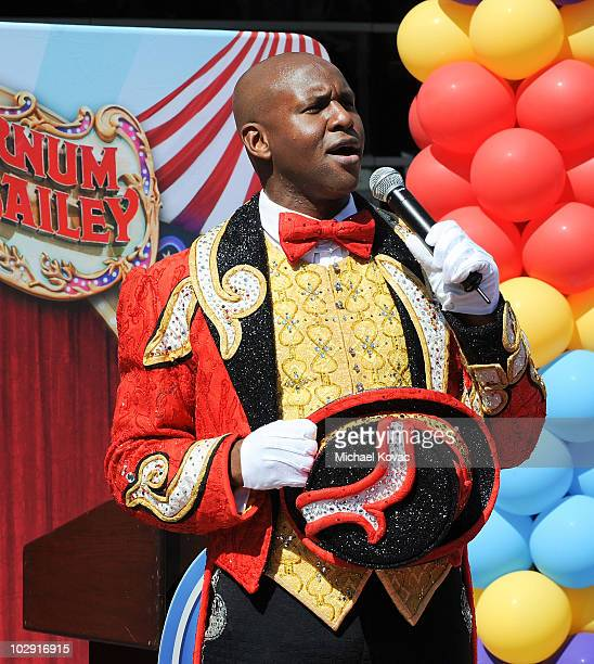 """Ringmaster Johnathan Lee Iverson sings """"The Star Spangled Banner"""" at the star dedication ceremony for iconic circus founder P.T. Barnum at Staples..."""