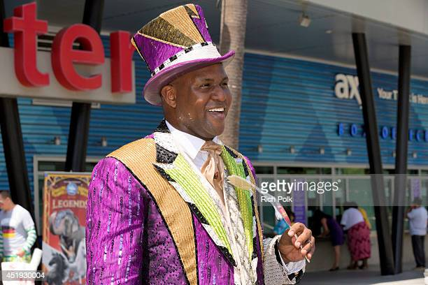 Ringmaster Johnathan Lee Iverson speaks at an event where Ringling Bros Elephant Predicts FIFA World Cup Winner at Staples Center on July 9 2014 in...