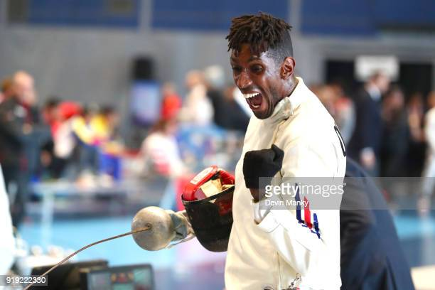 Ringo Quintero Alvarez of Cuba celebrates a victory during competition at the Peter Bakonyi Men's Epee World Cup at the Richmond Olympic Oval on...