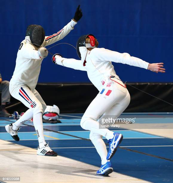 Ringo Quintero Alvarez of Cuba fences Olivier Stolz of France during competition at the Peter Bakonyi Men's Epee World Cup at the Richmond Olympic...