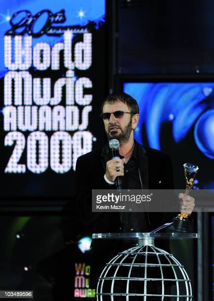 Ringo Starr accepts his 'Diamond Award' performs at the World Music Awards 2008 at the Monte Carlo Sporting Club on November 9, 2008 in Monte Carlo,...