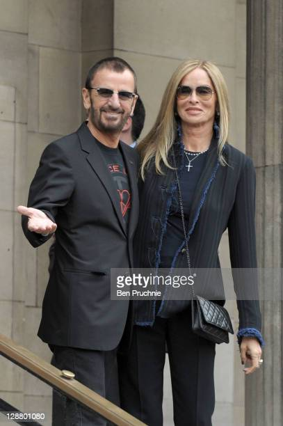 Ringo Starr and Barbara Bach arrive at Marylebone Registry Office for the civil ceremony marriage of Nancy Shevell and Sir Paul McCartney on October...