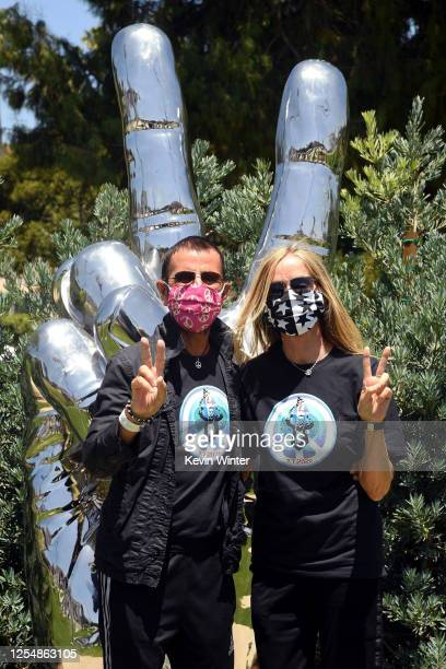 Ringo Starr and Barbara Bach visit his 'Peace and Love' sculpture to celebrate his 80th birthday on July 07 2020 in Beverly Hills California