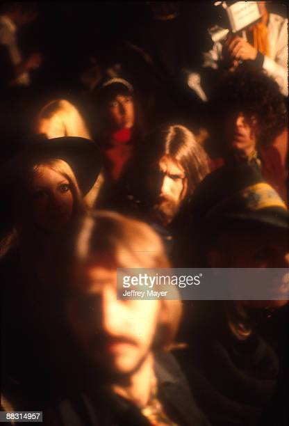 Ringo Starr and George Harrison of The Beatles in the audience during Bob Dylan's show at the Isle of Wight Festival 31st August 1969 at Ford Farm...