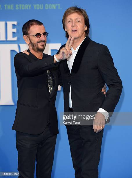 Ringo Starr and Paul McCartney arrive for the World premiere of 'The Beatles Eight Days A Week The Touring Years' at Odeon Leicester Square on...