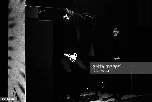 Ringo Starr and Paul McCartney at the Donmar Rehearsal Theatre central London are pictured during a break in rehearsals for The Beatles upcoming UK...