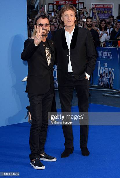Ringo Starr and Paul McCartney attend the World premiere of The Beatles Eight Days A Week The Touring Years at Odeon Leicester Square on September 15...