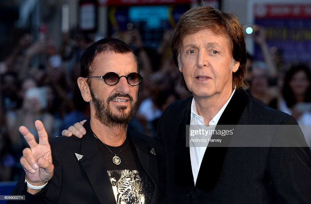Ringo Starr and Paul McCartney attend the World premiere of 'The Beatles: Eight Days A Week - The Touring Years' at Odeon Leicester Square on September 15, 2016 in London, England.