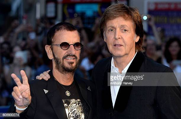 "Ringo Starr and Paul McCartney attend the World premiere of ""The Beatles: Eight Days A Week - The Touring Years"" at Odeon Leicester Square on..."