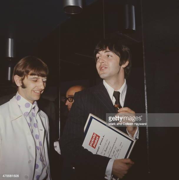 Ringo Starr and Paul McCartney of the Beatles at the Melody Maker awards London 13th September 1966 Readers of the magazine have voted the Beatles...