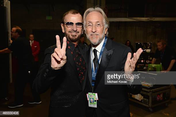 Ringo Starr and President of the National Academy of Recording Arts and Sciences Neil Portnow attend the 56th GRAMMY Awards at Staples Center on...