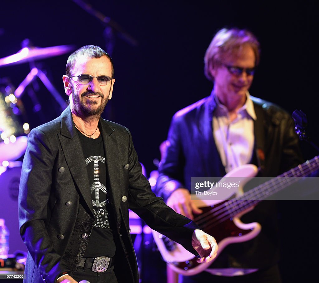 Ringo Starr (L) and Richard Page of Ringo Starr & His All-Starr Band perform at Ruth Eckerd Hall on October 23, 2014 in Clearwater, Florida.