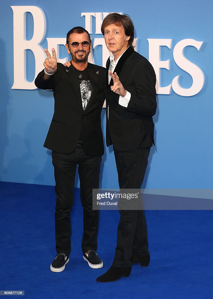 Ringo Starr and Sir Paul McCartney arrive for the World premiere of 'The Beatles: Eight Days A Week - The Touring Years' at Odeon Leicester Square on September 15, 2016 in London, England.
