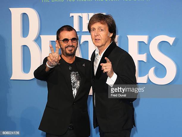 Ringo Starr and Sir Paul McCartney arrive for the World premiere of 'The Beatles Eight Days A Week The Touring Years' at Odeon Leicester Square on...