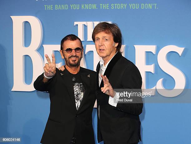 "Ringo Starr and Sir Paul McCartney arrive for the World premiere of ""The Beatles: Eight Days A Week - The Touring Years"" at Odeon Leicester Square on..."