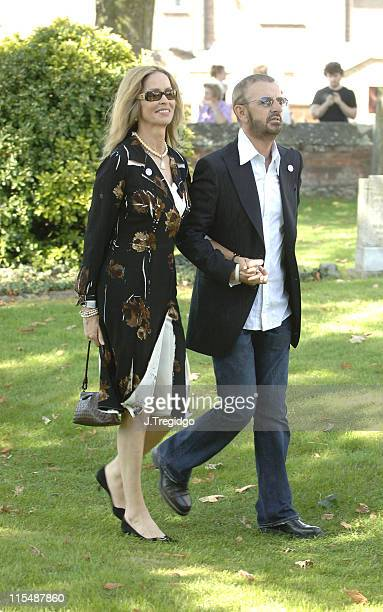 Ringo Starr and wife Barbara Bach during Jools Holland and Christabel McEwan's Wedding at St James's Church in Cooling, Kent, Great Britain.