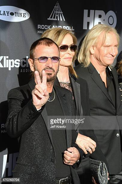 Ringo Starr Barbara Bach and Joe Walsh attend the 30th Annual Rock And Roll Hall Of Fame Induction Ceremony at Public Hall on April 18 2015 in...