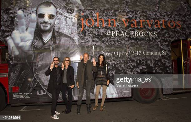 Ringo Starr, Barbara Bach, John Varvatos and Joyce Varvatos attend the John Varvatos store launch, pictured by the JV Routemaster Bus outside the...