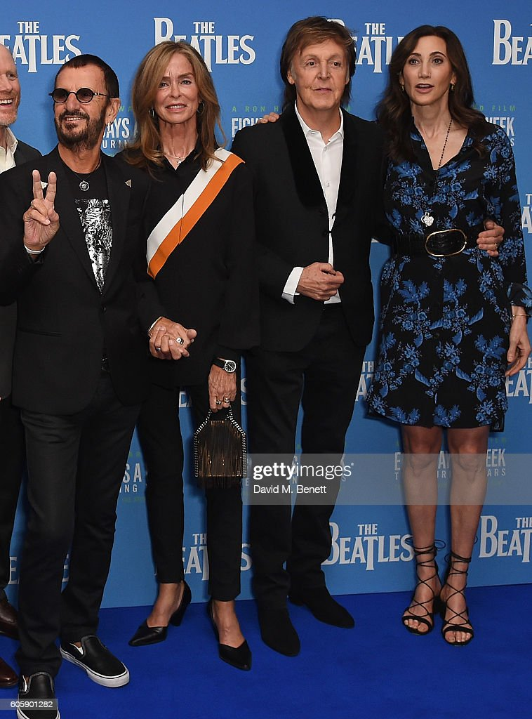 Ringo Starr, Barbara Bach, Paul McCartney and Nancy Shevel attend the World Premiere of 'The Beatles: Eight Days A Week - The Touring Years' at Odeon Leicester Square on September 15, 2016 in London, England.