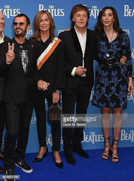 Ringo Starr Barbara Bach Paul McCartney and Nancy Shevel attend the World Premiere of The Beatles Eight Days A Week The Touring Years at Odeon...
