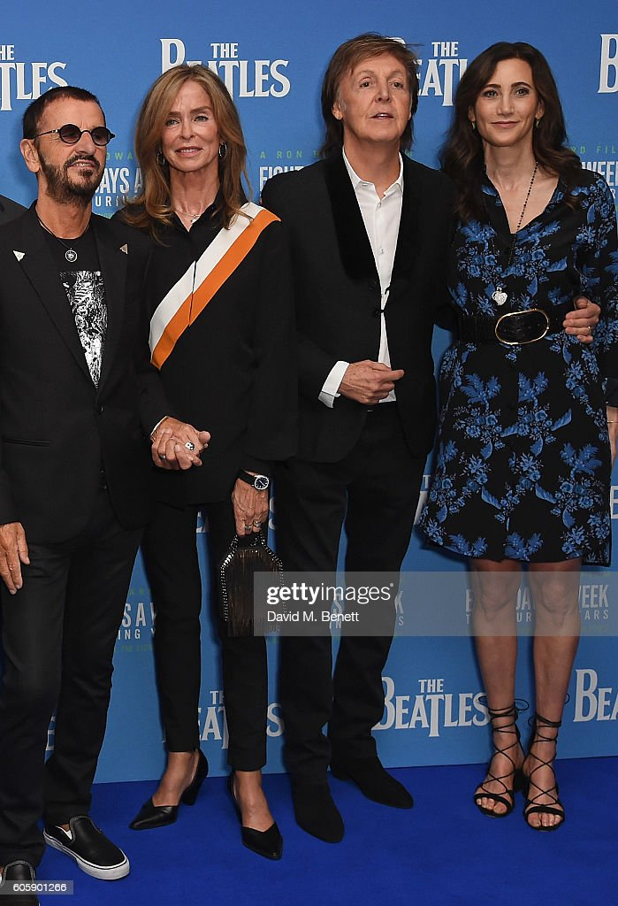 Ringo Starr, Barbara Bach, Paul McCartney and Nancy Shevell attend the World Premiere of 'The Beatles: Eight Days A Week - The Touring Years' at Odeon Leicester Square on September 15, 2016 in London, England.