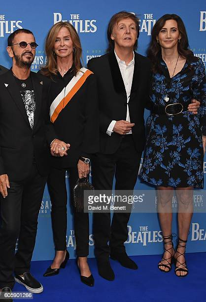Ringo Starr Barbara Bach Paul McCartney and Nancy Shevell attend the World Premiere of The Beatles Eight Days A Week The Touring Years at Odeon...