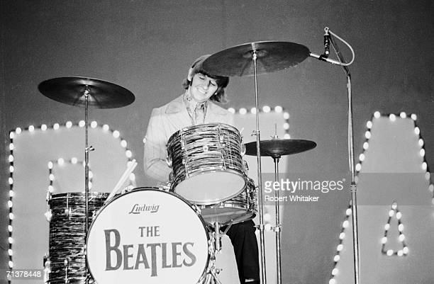 Ringo Starr drumming during The Beatles performance at the Budokan Hall in Tokyo Japan 2nd July 1966