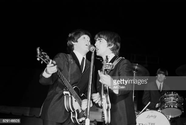 Ringo Starr George Harrison Paul McCartney The Beatles on stage in concert circa 1970 New York