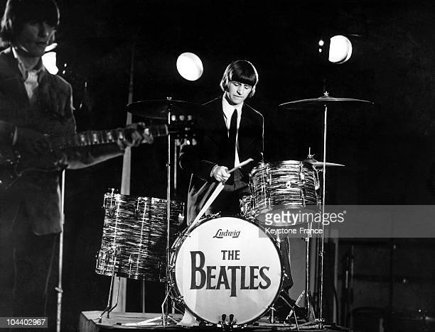 Ringo STARR is senn here at the EMI recording studios providing the GROOVY sound for paperback PAPERBACK WRITER AND RAIN
