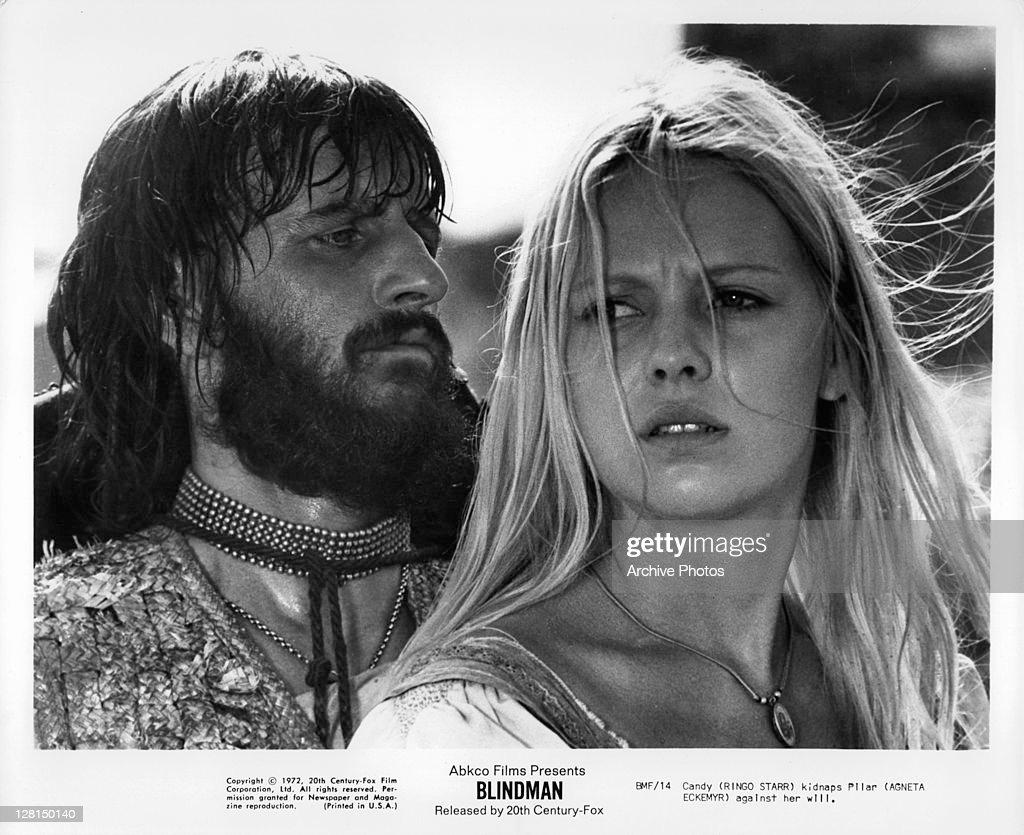 Ringo Starr Kidnaps Agneta Eckemyr Against Her Will In A Scene From The Film Blindman
