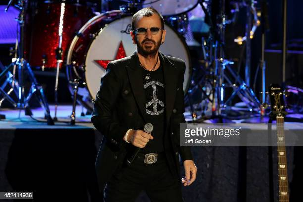 Ringo Starr of Ringo Starr and his All Starr Band performs at The Greek Theatre on July 19 2014 in Los Angeles California