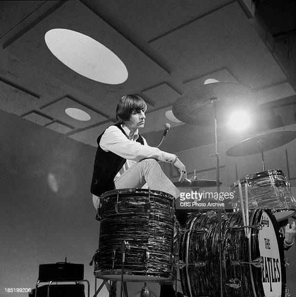 Ringo Starr of the Beatles at rehearsal for their third appearance on The Ed Sullivan Show. Image dated August 14, 1965. Photo by CBS via Getty...