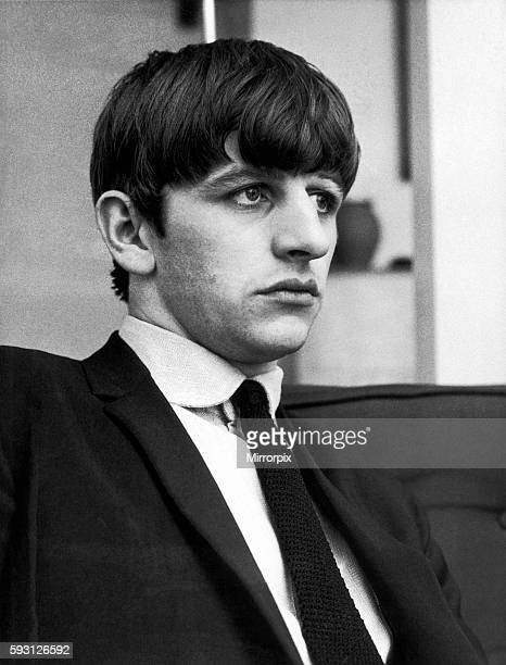 Ringo Starr of The Beatles poses for pictures after the group were interviewed by Donald Zec Daily Mirror Journalist at his Flat in Maitland Court...