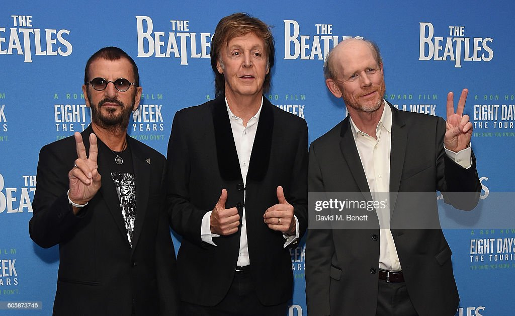 Ringo Starr, Paul McCartney and Ron Howard attend the World Premiere of 'The Beatles: Eight Days A Week - The Touring Years' at Odeon Leicester Square on September 15, 2016 in London, England.