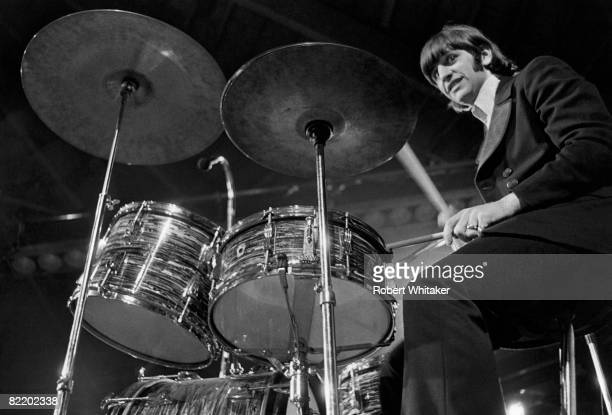 Ringo Starr performing with The Beatles at the Ernst Merck Halle Hamburg during their final world tour 26th June 1966