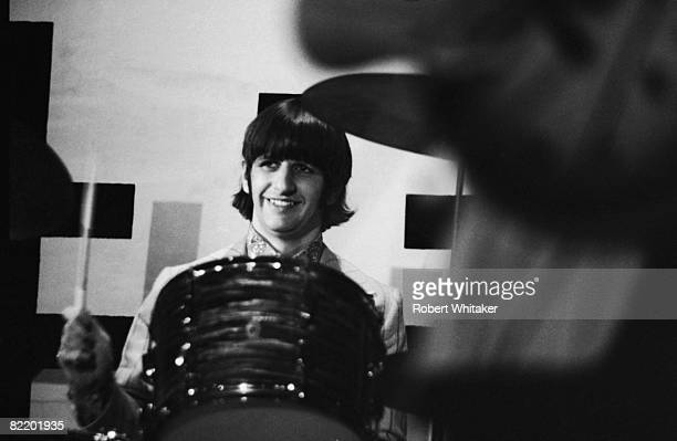 Ringo Starr performing with the Beatles at the Rizal Memorial Football Stadium Manila Philippines during the group's final world tour 4th July 1966
