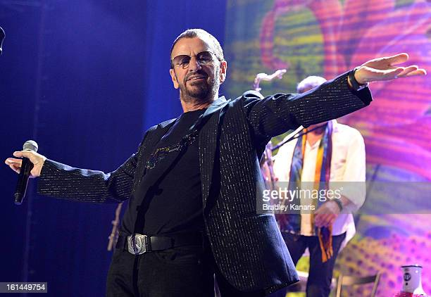Ringo Starr performs live on stage at the Brisbane Convention Exhibition Centre on February 11 2013 in Brisbane Australia