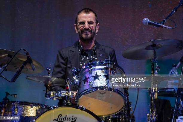 Steve Lukather and Ringo Starr perform on stage during Lucca Summer Festival at Piazza Napoleone on July 8 2018 in Lucca Italy