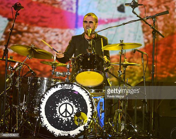 Ringo Starr performs onstage at The Night That Changed America A GRAMMY Salute To The Beatles at Los Angeles Convention Center on January 27 2014 in...