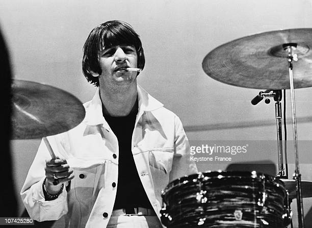 Ringo Starr Playing Drums At London In England On August 2Nd 1965