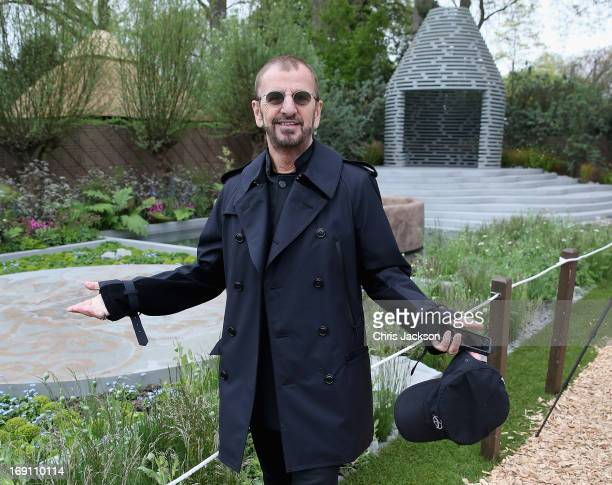 Ringo Starr poses in the BQ Sentebale 'ForgetMeNot' Garden at the Chelsea Flower Show at Royal Hospital Chelsea on May 20 2013 in London England The...