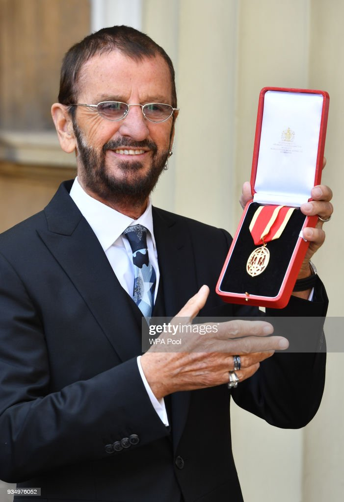 Ringo Starr, real name Richard Starkey, poses at Buckingham Palace after receiving his Knighthood at an Investiture ceremony on March 20, 2018 in London, England.