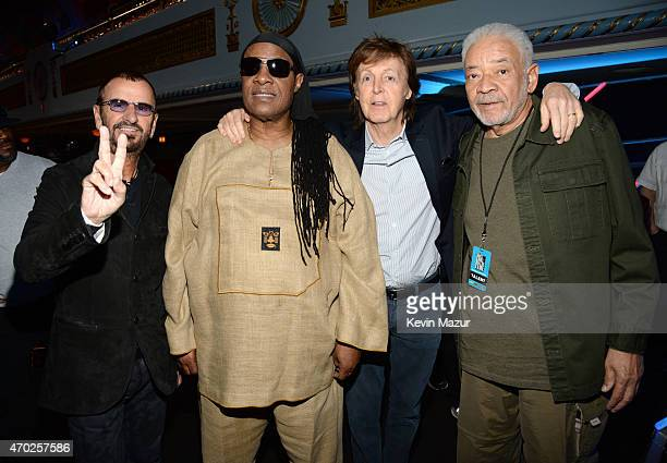 Ringo Starr Stevie Wonder Paul McCartney and Bill Withers attend the 30th Annual Rock And Roll Hall Of Fame Induction Ceremony at Public Hall on...