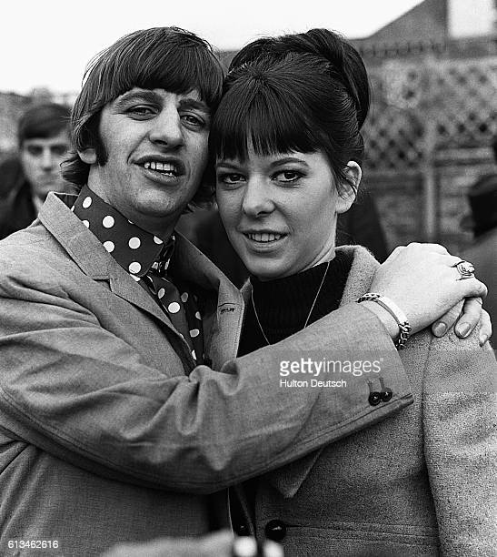 Ringo Starr, the Beatles drummer, hugs his new wife Maureen during their honeymoon in Hove.