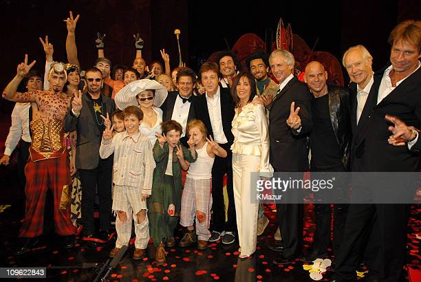 Ringo Starr Yoko Ono Sir Paul McCartney Olivia Harrison Sir George Martin and Giles Martin with Cirque du Soleil LOVE castmembers *EXCLUSIVE*
