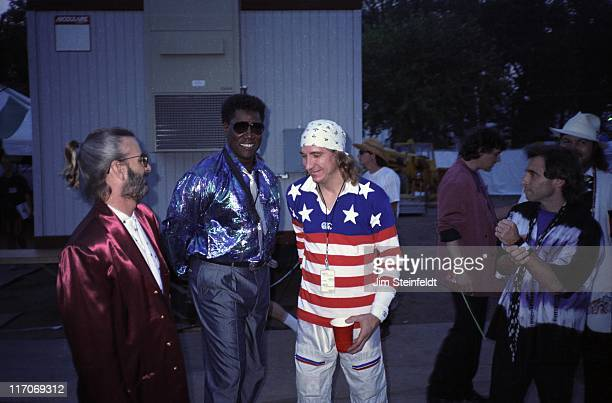 Ringo's All Star Band with Clarence Clemons hangs out backstage at Riverfest in St Paul Minnesota on July 23 1989