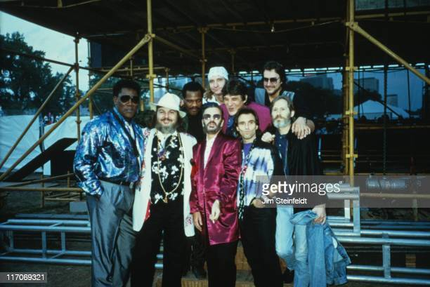 Ringo's All Star Band with Clarence Clemons pose for a portrait backstage at Riverfest in St Paul Minnesota on July 23 1989
